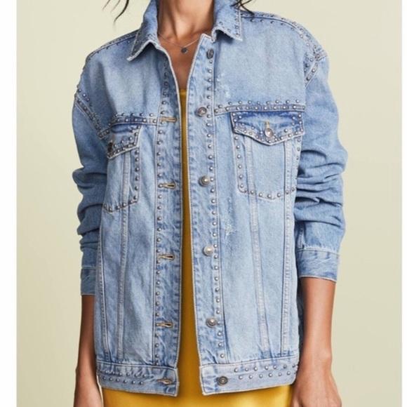 Free People Studded Denim Jean Jacket Size La